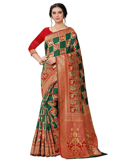 Flaray Women's Patola Banarasi Silk Saree With Blouse
