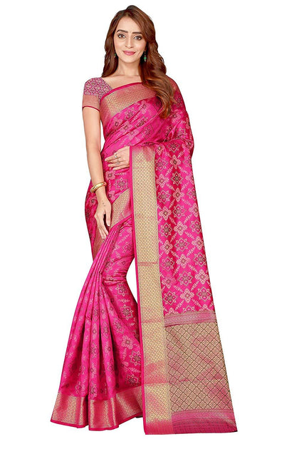 Flaray Women's Gorgeous Kanjivaram Silk Saree with Blouse Piece - iZiffy.com