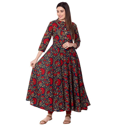 JAIPUR Women's Cotton Printed Anarkali Kurta - iZiffy.com