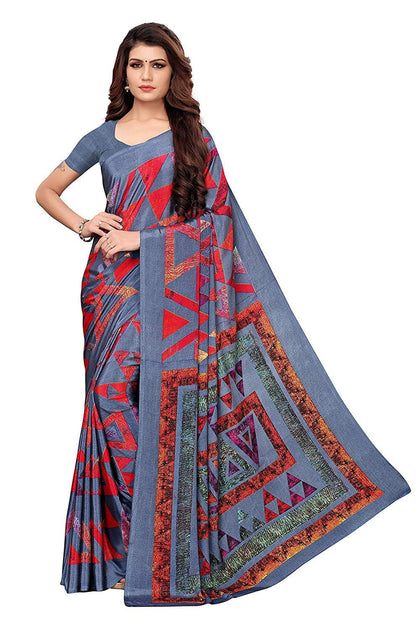 GoSriKi Crepe with Blouse Piece Saree (Aakruti-330-1_Grey_Free Size) - iZiffy.com