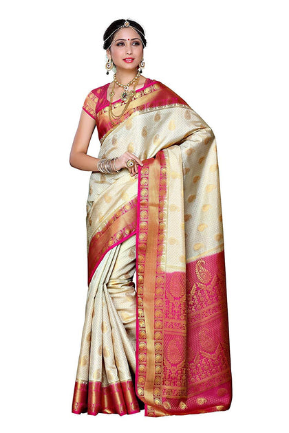 Women's Traditional Art Silk Saree Kanjivaram Style With Blouse - iZiffy.com