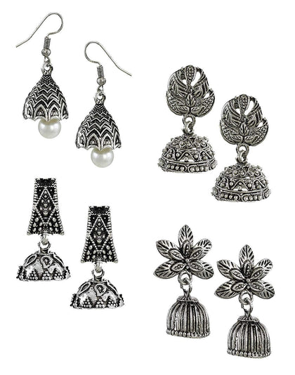 Flaray Pack Of Four Oxidised Jhumki Earrings - iZiffy.com