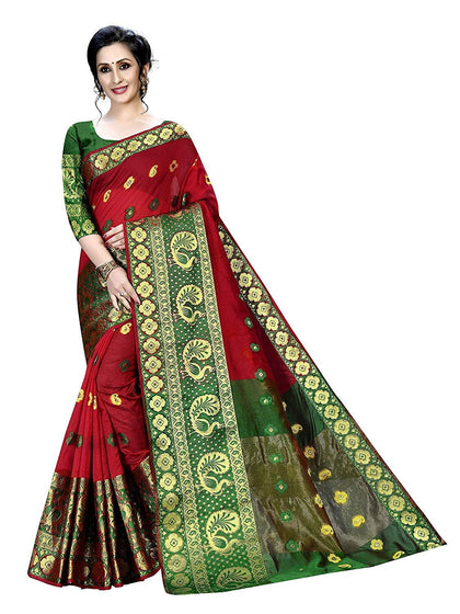 Banarasi Silk, Cotton multi-colored Saree With Blouse Piece