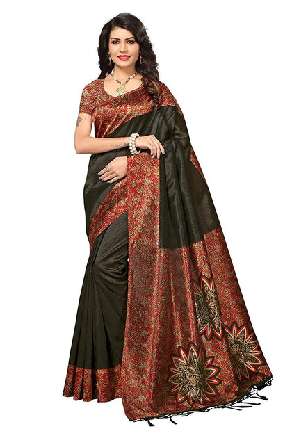Art Silk Saree with Blouse Piece (Free Size) - iZiffy.com