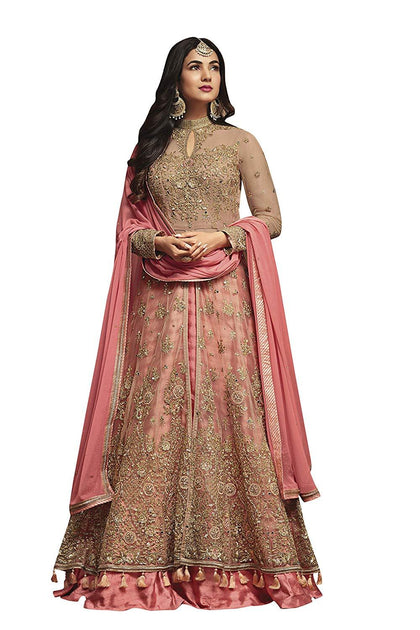 Flaray Women's Net and Santoon Anarkali Gown - iZiffy.com