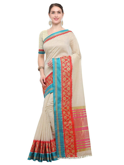 Flaray Women Kanjivaram Silk Cotton Saree With Blouse Piece - iZiffy.com
