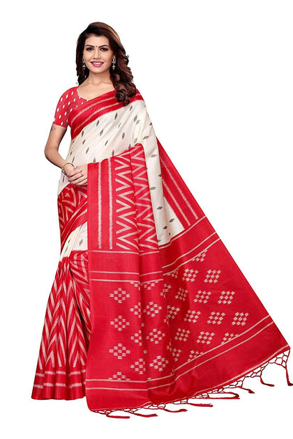 Designer Silk Saree with Blouse Piece - iZiffy.com