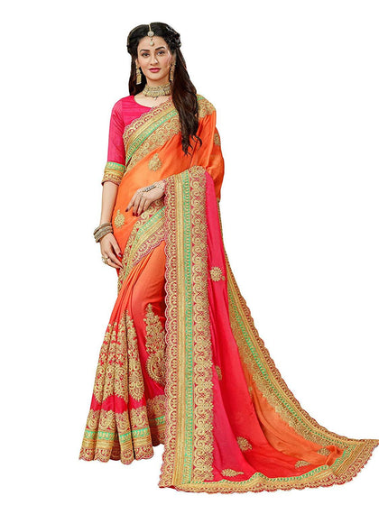 Flaray Embroidery Multicoloured Chiffon Saree - iZiffy.com