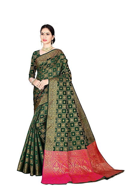 Flaray Women's Green Color Silk Patola Saree with Blouse Piece