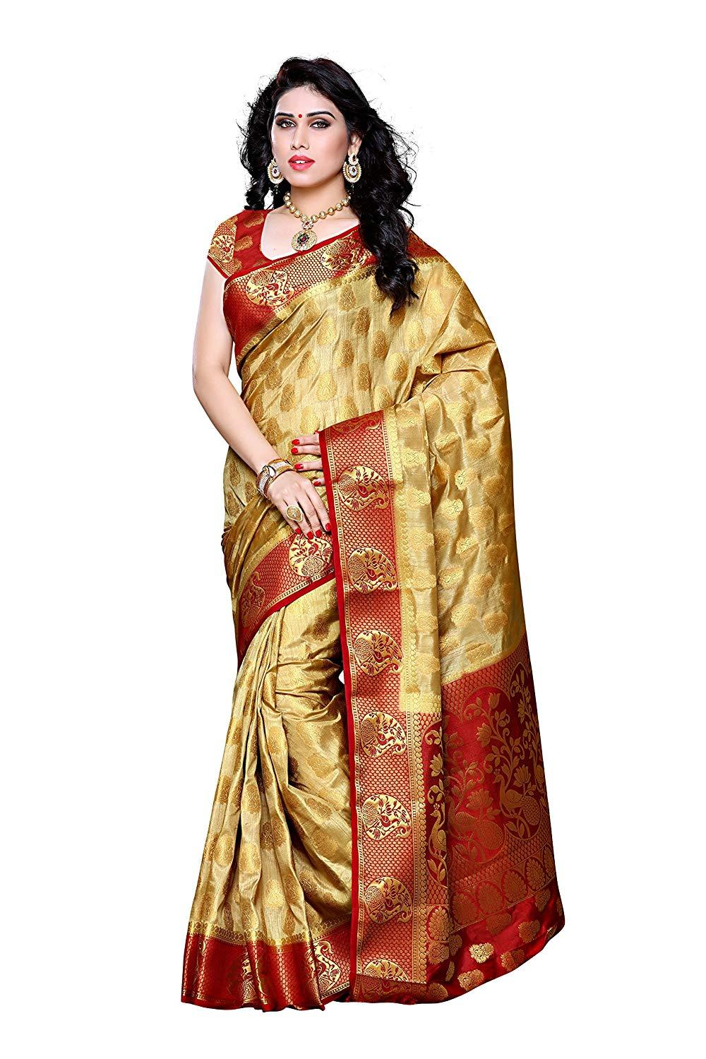 Flaray Women's Traditional Art Silk Saree Kanjivaram Style With Blouse Color