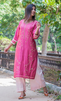 Embroidered Chanderi Kurti - Pink - iZiffy.com
