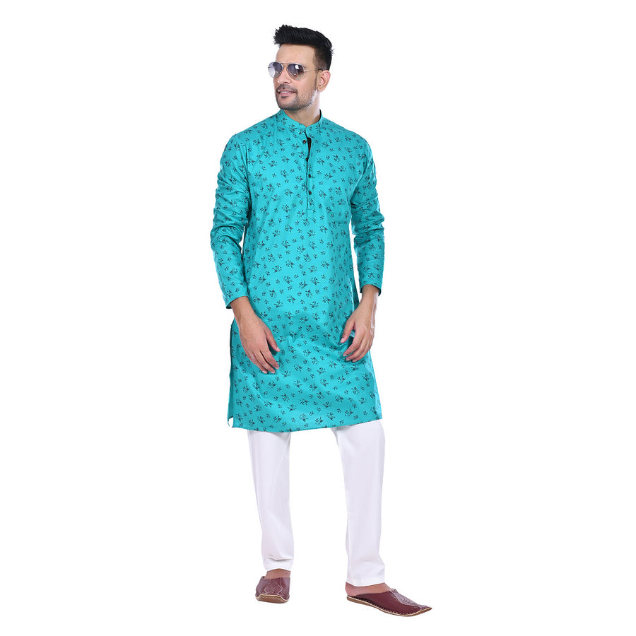 Ethinic Cottler Men's Printed Solid Straight Kurta Pyjama Set(Sky Blue)