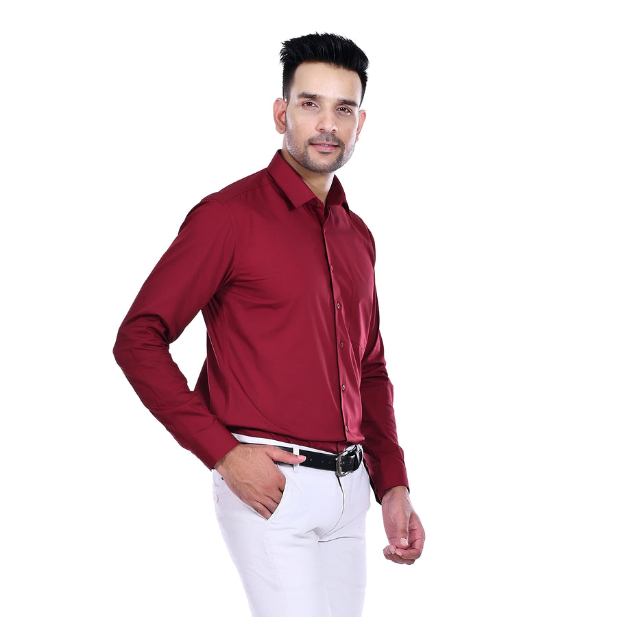 Ethinic Cottler Men's Slim Fit Formal Shirt (Maroon)