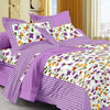 Jaipuri Cotton King Size Bed Sheet with 2 Pillow Covers 90x108-Checkmate Purple