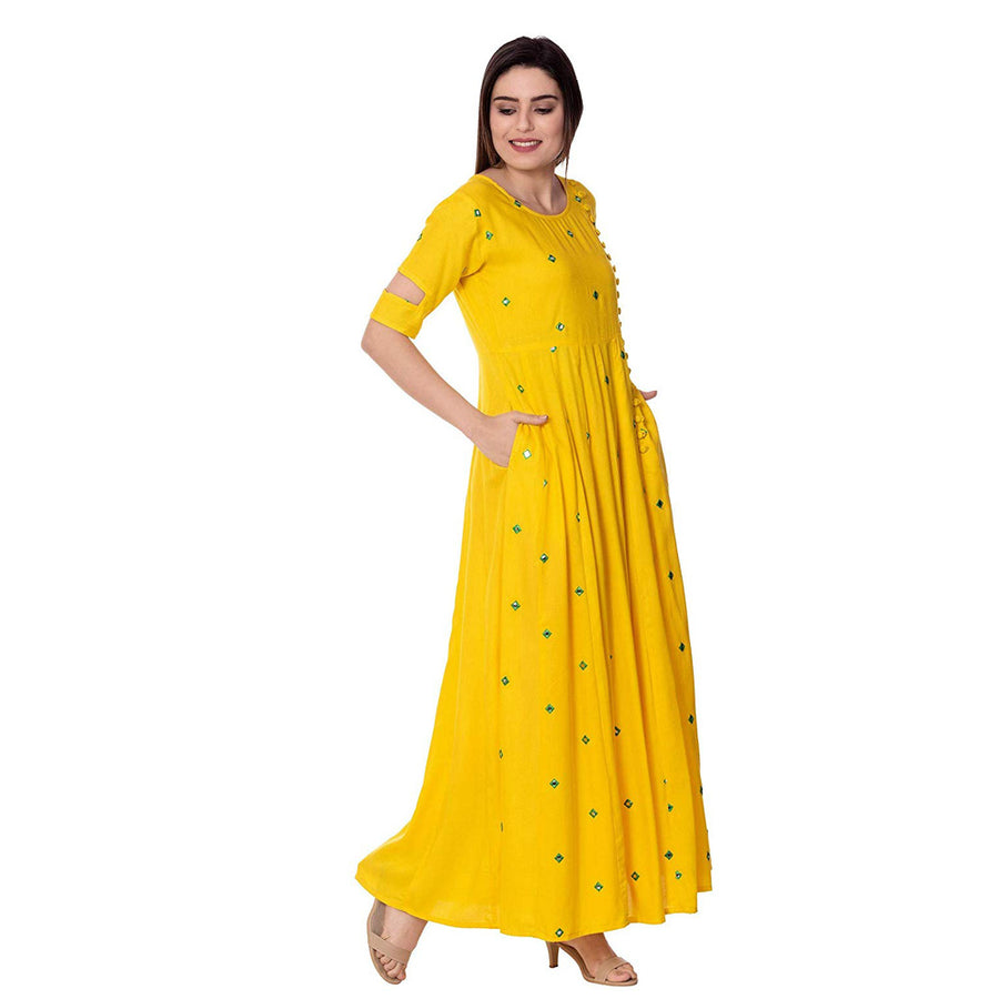 Rayon Kurti Ethnic Beautiful Yellow Embroidery Mirror work Kurti Girls & Women - iZiffy.com