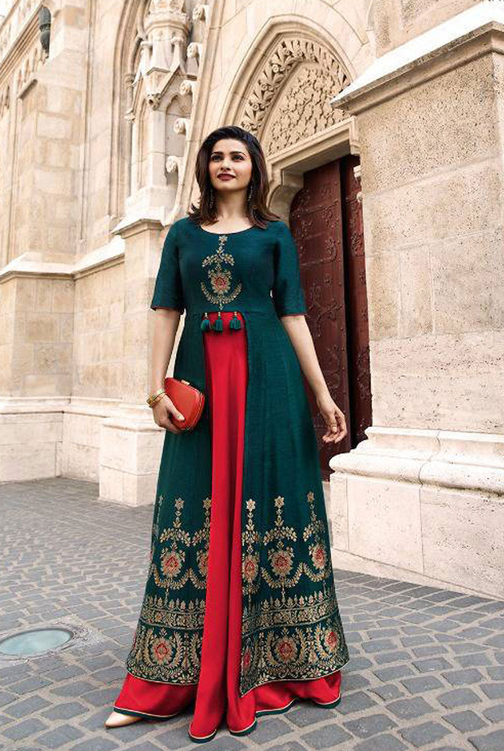 The Kanha, Mother's day gift, Indian Bollywood Designer Rayon Kurta Western Long Party wear Gown With Mirror Embroidered Work 1 Pc Set