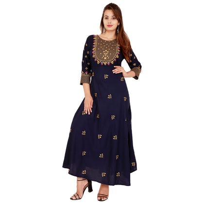 The Kanha Stylish Rayon Women Gold Print Kurta Set