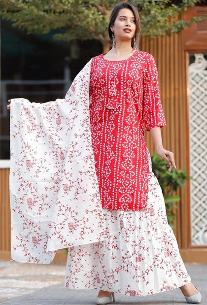 Beautiful Bandhani Print Indian Women Kurti With Skirt And Malmal Dupatta