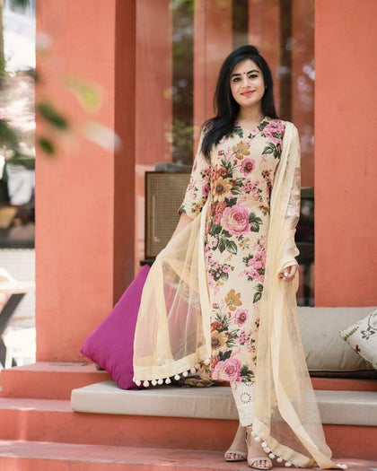 Beautifull Cream Flower Print Kurti With pant Rayon kurti With duppa for Girls & Women
