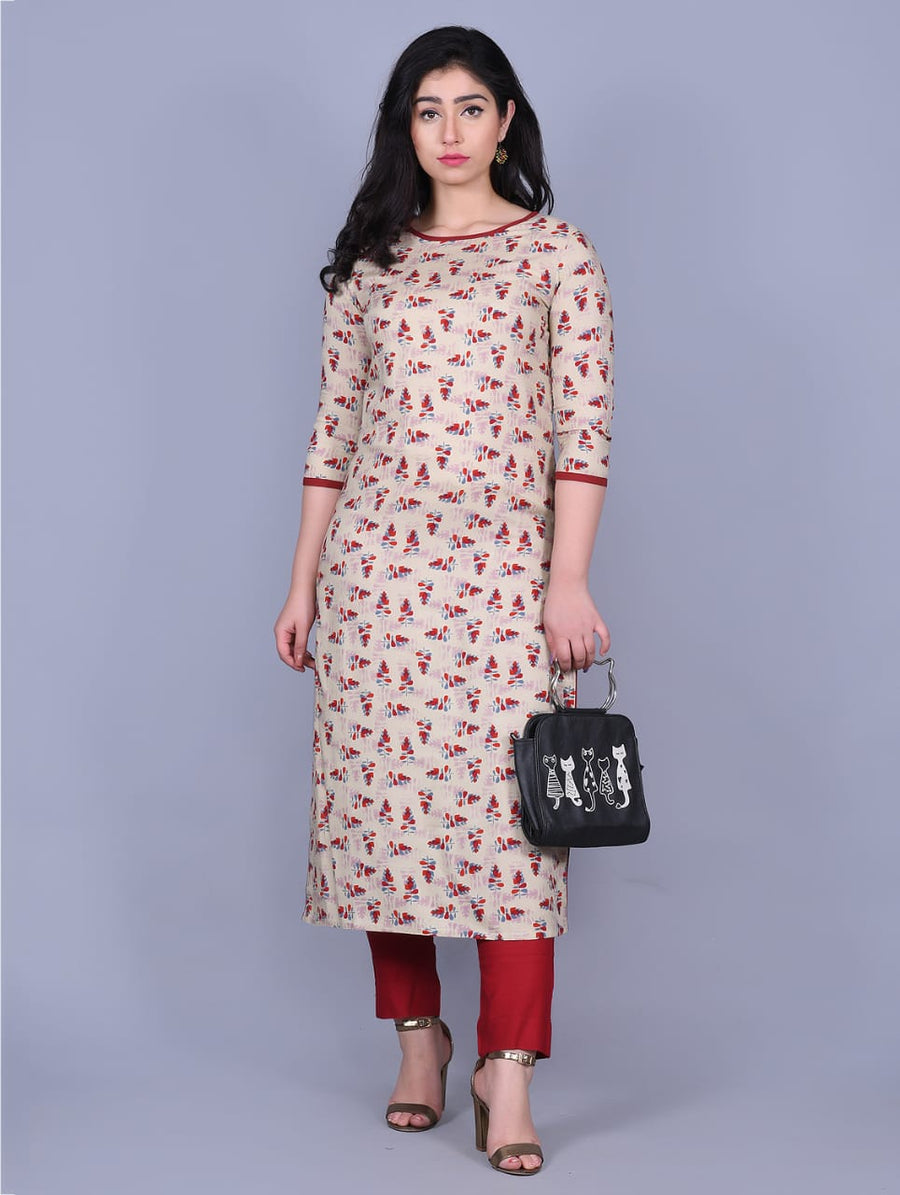 Printed Beige Rayon Kurti with Plazzo - iZiffy.com
