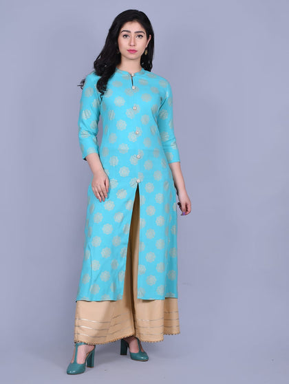 Turquoise Rayon Kurti with gold print with Palazzo - iZiffy.com