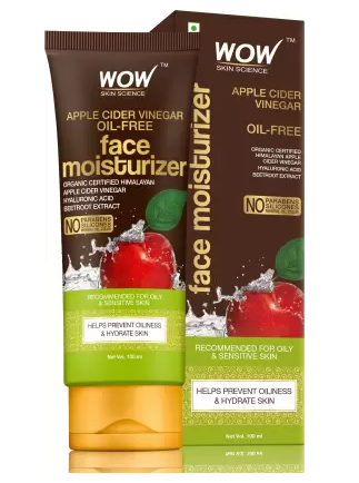 WOW Skin Science Organic Apple Cider Vinegar Face Moisturizer - Oil Free, Quick Absorbing - For Normal/Oily and Acne Prone Skin - No Parabens, Silicones, Mineral Oil, Color - 100mL  (100 ml) - iZiffy.com