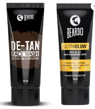 Beardo De Tan Face Wash and Ultraglow Face Lotion for Men  (2 Items in the set)