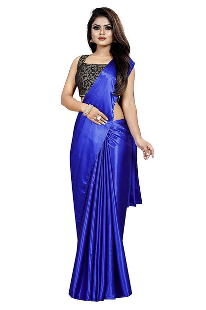 Flaray Fashion Women's Satin Silk Shiny Glamourous Draped Saree with Brocade Blouse - iZiffy.com