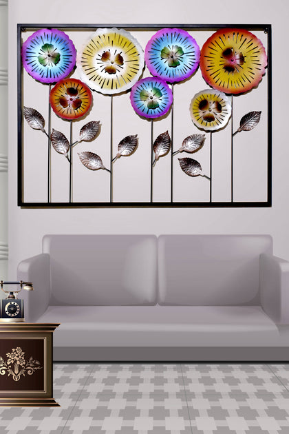 LIGHT ANGLE Handmade Multi Flower Sculpture in Frame Wall Decor Hanging for Home, Living Room and Office - iZiffy.com
