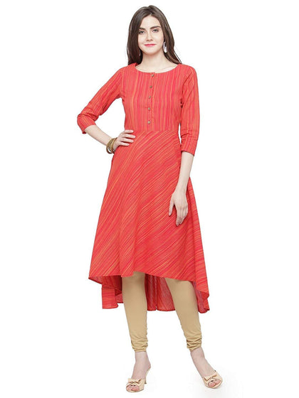 Flaray Women's Printed 3/4Th Sleeve Cotton Flared Kurta - iZiffy.com