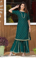 Gaurav Creation Half Sleeves Round Neck Rayon Long Kurti Set and Dupatta for Women - iZiffy.com