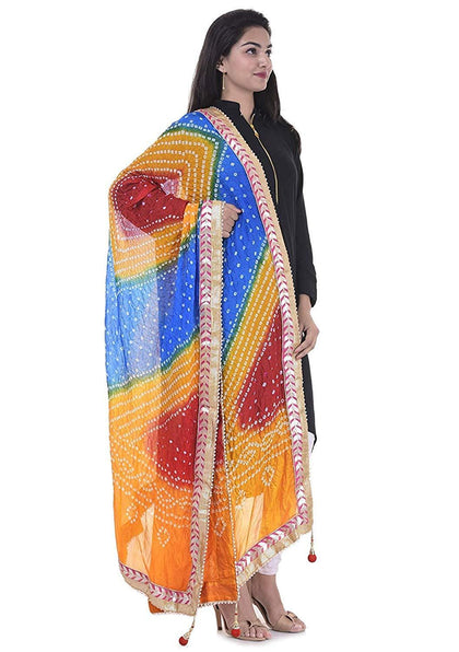 Flaray Women's Jaipuri Rajasthani Silk Bandhani Bandhej Multi-Colored Heavy Dupatta with Gota Work and latkan