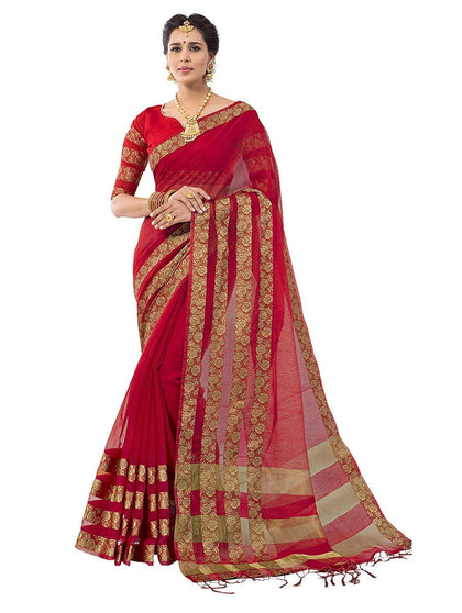 Flaray Cotton Silk with Blouse Piece Saree - iZiffy.com