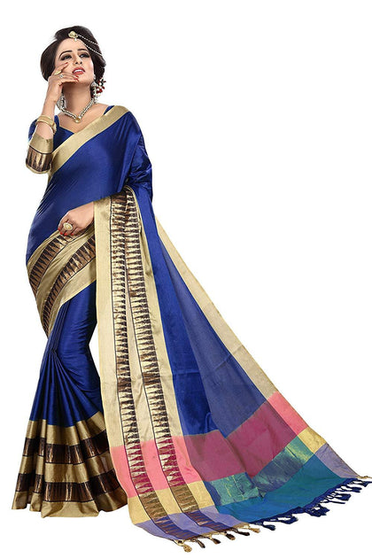Women's cotton Silk Saree With Blouse Piece