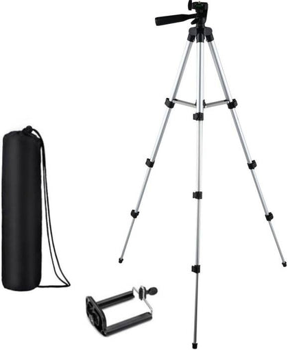 KBOOM Camera Tripod Stand With 3-Way Head Tripod for Digital Camera DV Camcorder, Tripod 3110 with mobile Phone holder mount Tripod  (Silver, Black, Supports Up to 1500 g) - iZiffy.com