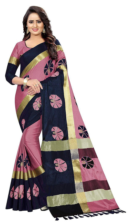 Designer Women's Ari Embroidery Work and Printed Chanderi Cotton Fabric Traditional Saree With Blouse Piece