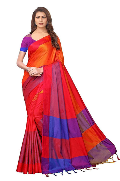 Art Silk Saree with Blouse Piece.