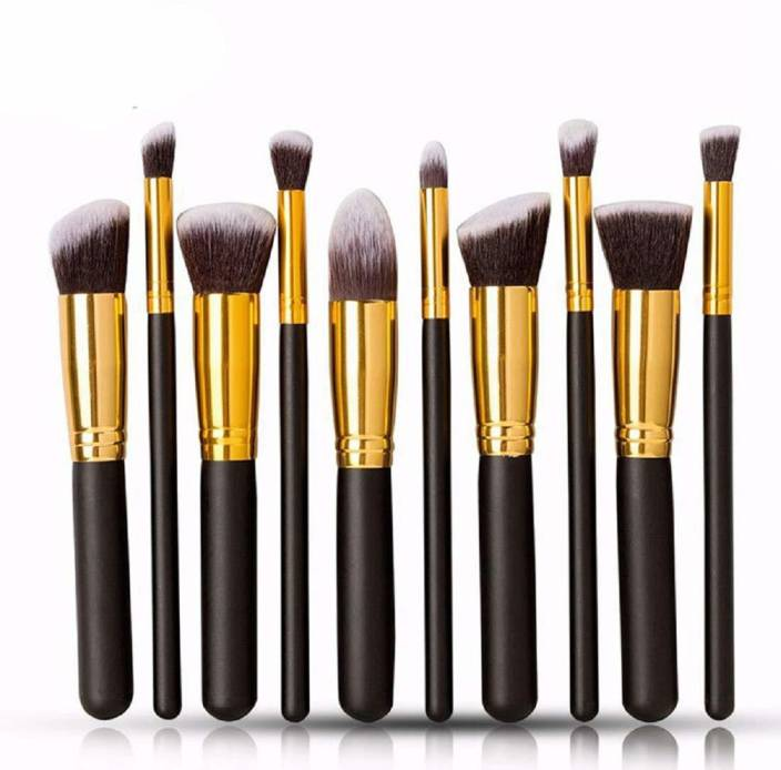 Pappilio Premium Synthetic Kabuki Makeup Brush Set  (Pack of 10) - iZiffy.com