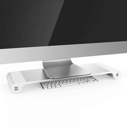 Aluminum Desktop Monitor Notebook Laptop Stand Space Bar Non-slip Desk Riser with 4-ports USB charger for iMac, MacBook Pro, Air - iZiffy.com