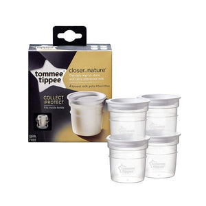 tommee tippee closer to nature breast milk storage pots x4 - 60ml