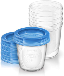 avent milk / food 5 piece container