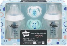 Load image into Gallery viewer, tommee tippee bottle and soother starter set 2 bottles & 2 orthodontic soothers from birth BPA free