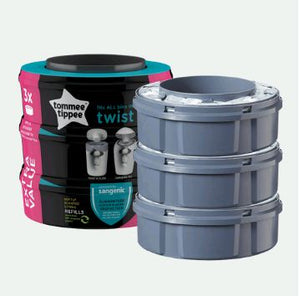 tommee tippee twist & click nappy disposal bin refills - 3pack