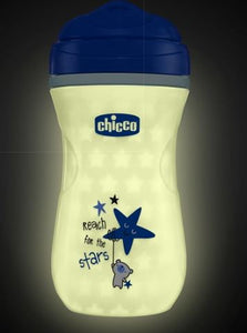 chicco glow in the dark insulated rim spout trainer spill free baby sippy cup 9oz, blue, 12m+ (1pk)