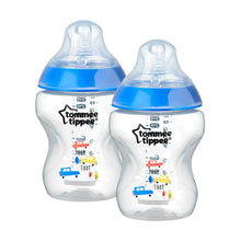 Load image into Gallery viewer, tommee tippee closer to nature baby bottle decorated blue, x2 bottles, 260 ml