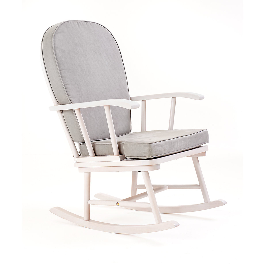 mothercare rocking chair with grey cushion - white