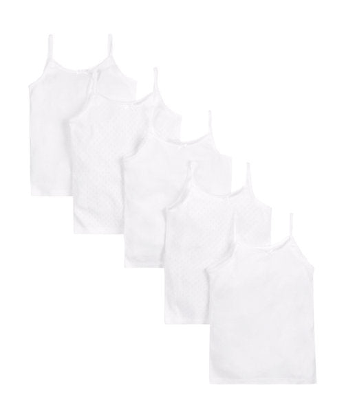 mothercare white cami vests - 5 pack