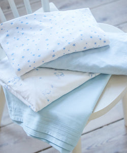 blue jersey cotton cot bed sheets - 2 pack