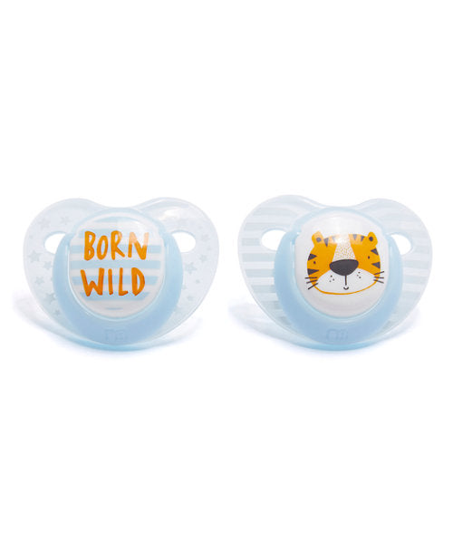 mothercare orthodontic soothers 0-6m 2 pack - born wild