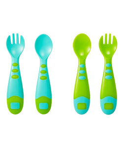 mothercare easy grip spoon & fork set - 4 pieces blue